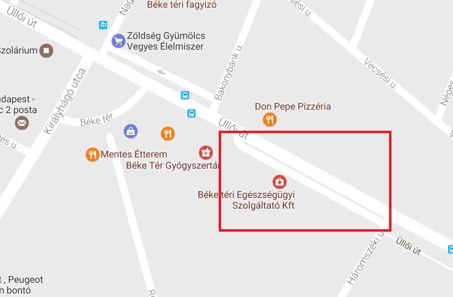 18. kerület, Béke téri egészségügyi központ parkolás