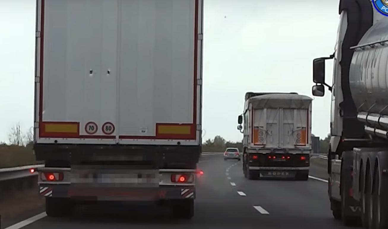 VIDEÓ: A rendőrautó kamerája rögzítette! 8 kamionost büntettek meg!