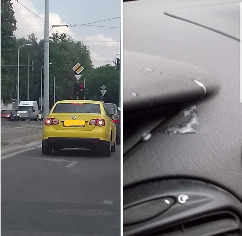 Beköpött a taxis a lehúzott ablakon