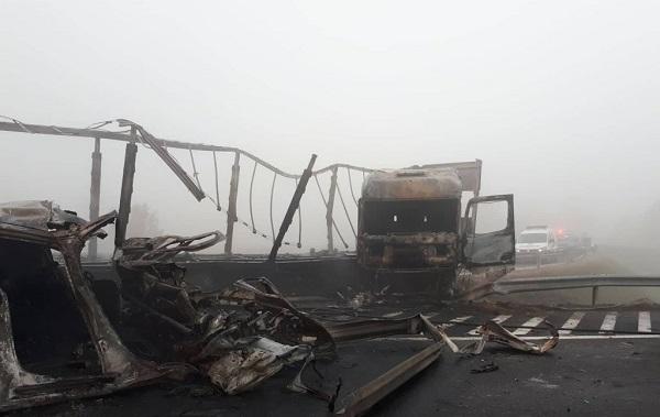 Fotók – Heten haltak meg az M5-ösön, miután egy kamion átszakította a szalagkorlátot