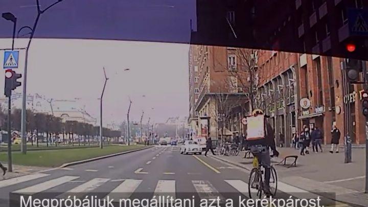 VIDEÓ: Biciklist is büntettek 50 ezerre, mert átment a piroson