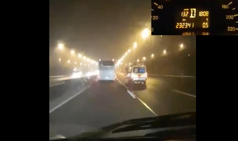 """VIDEÓ: Ezt a buszt még a mentő is """"levillogta"""" az M0-áson"""