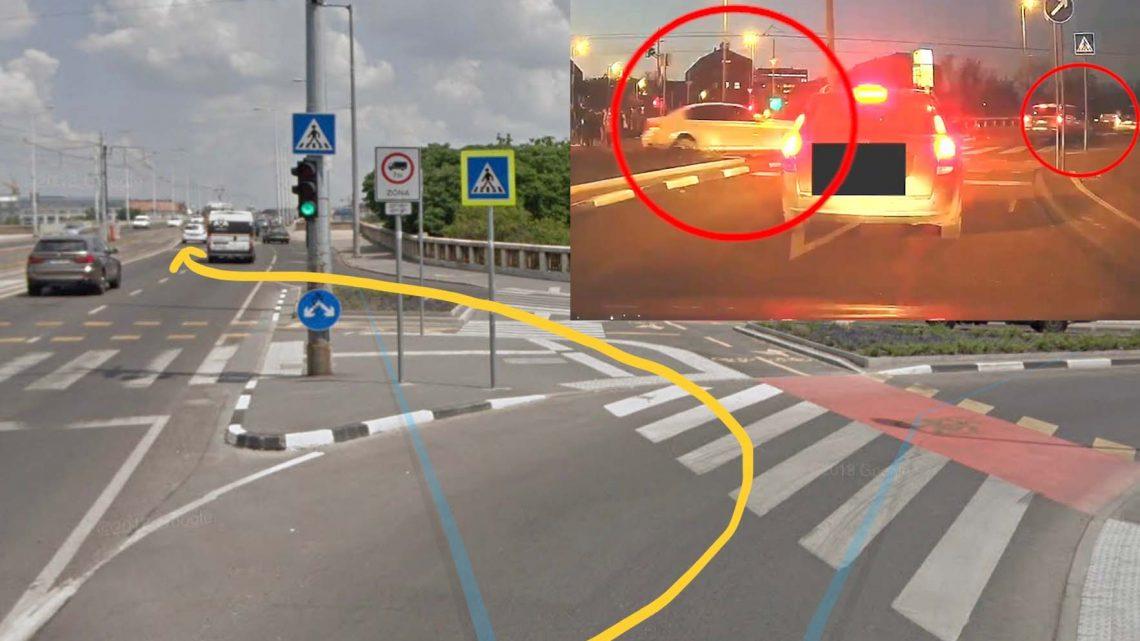 VIDEÓ: Piros lámpát került, közben majdnem biciklist gázolt a mercis