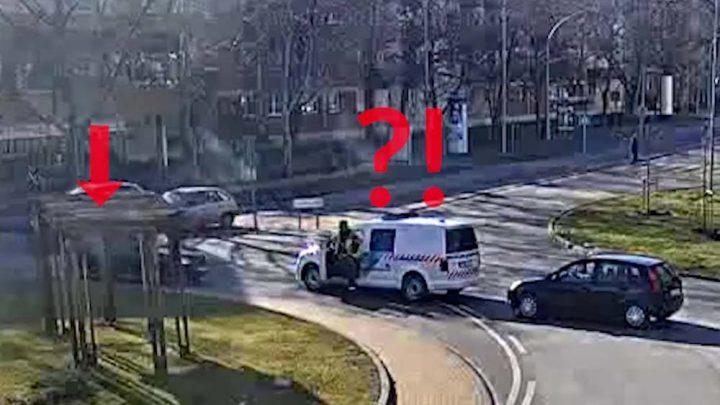A körforgalom idiótája! Jókor volt jó helyen a baleseti helyszínelő :-)