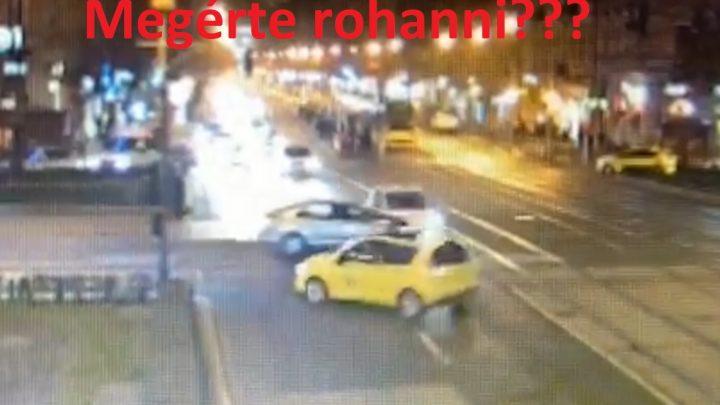 VIDEÓ: Az ütközés erejétől a taxis megpördült az Oktogonon – ismét piros lámpa semmibevétele