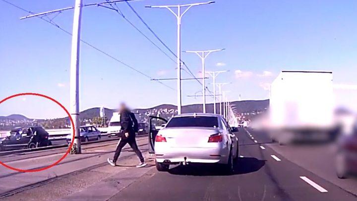 VIDEÓ: Az Árpád hídon akart megfordulni. Hatalmas baleset lett belőle