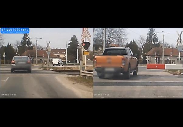 VIDEÓ: Az első autós magasról tesz az átjáró tilos jelzésére – A második? Az már az egész világra tojik!