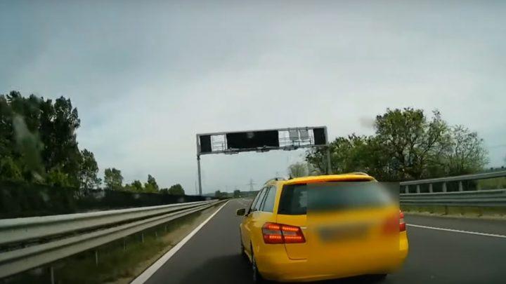 VIDEÓ: Annyira siethetett fuvarba, hogy büntetőfékezni volt ideje az M2-esen ennek a taxisnak