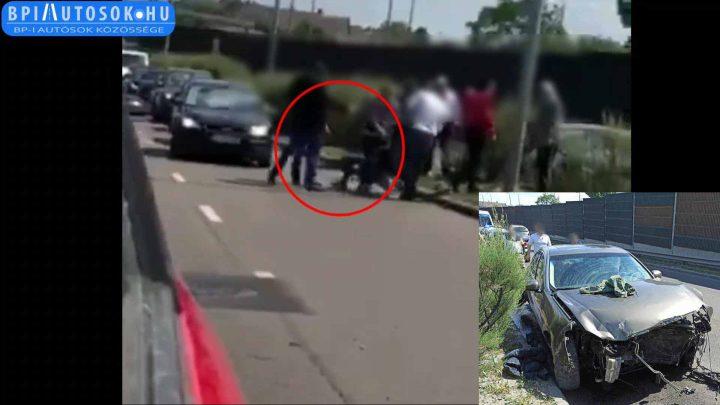 VIDEÓ: Többen fogtak le egy nőt, egy tegnapi M5 bevezetőn történt balesetnél