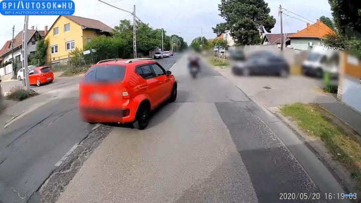 VIDEÓ: Ezt üzeni a buszsofőr egy tegnap büntetőfékező piros Ignis sofőrnek