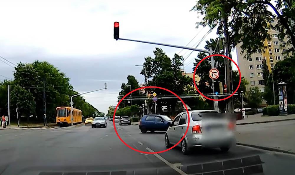 Felvételen, ahogy kis híján balesetet okozva is behajt a kispesti egyirányú utcába