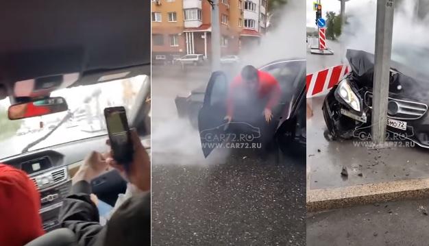 VIDEÓ: Nagyot buliztak az autóban a fiatalok, aztán sikerült lájv videóban totálkárosra törni a Mercit