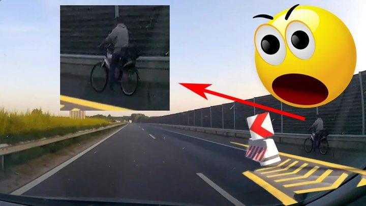 VIDEÓ: M5-ösön bringával? Simán! Az a vicc, hogy ez nem vicc :)