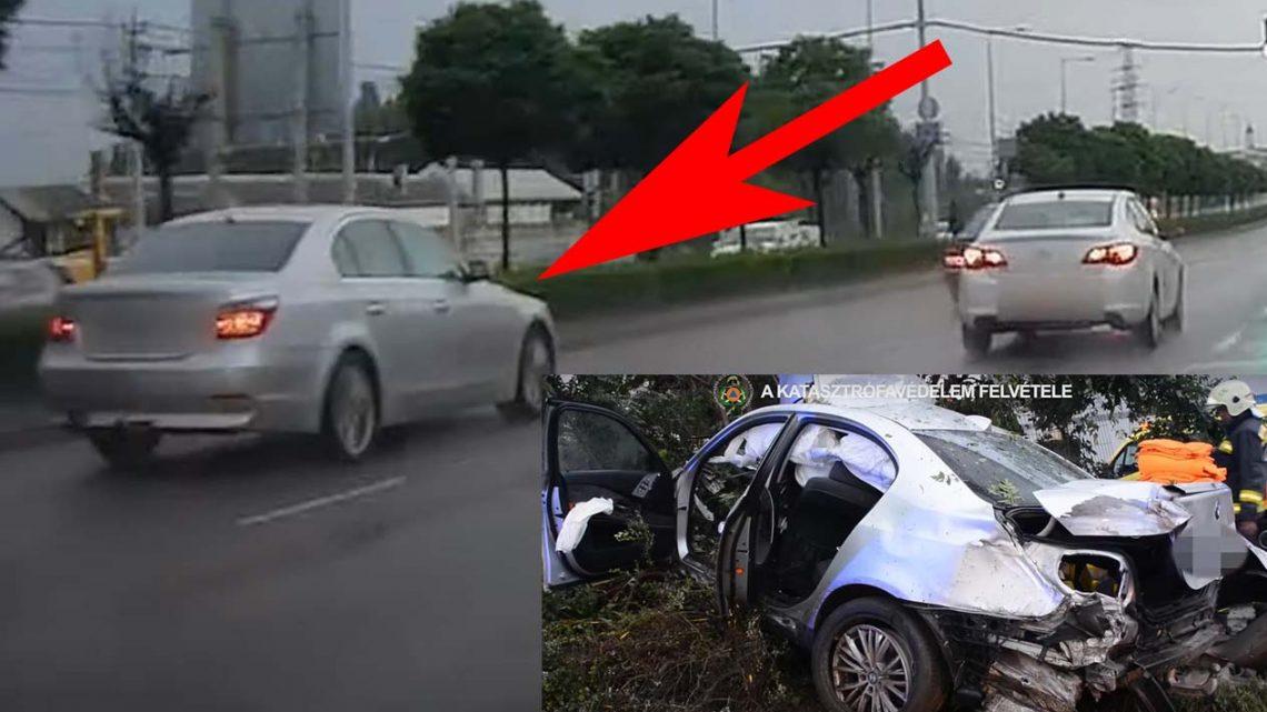 Előzményfelvétel a BMW-ről, amit kettévágott egy oszlop a Soroksári úti balesetben