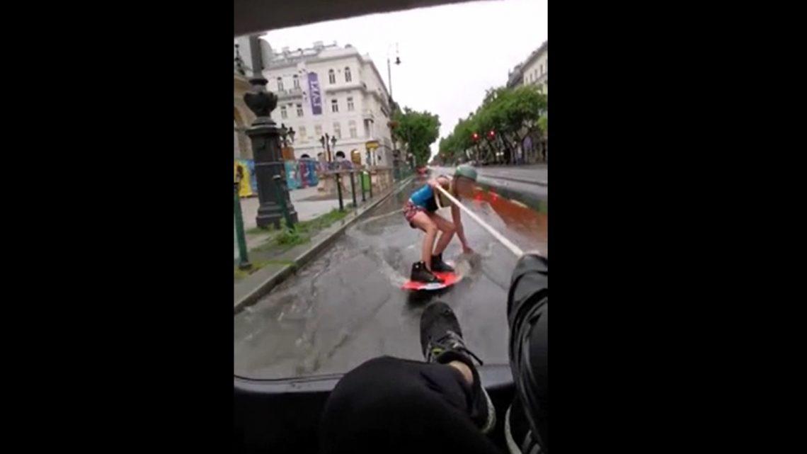 VIDEÓ: Komoly esőzés volt tegnap a fővárosban is – Volt aki wakeboardra pattant az Andrássyn
