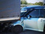 FOTÓK: Összeütközött egy kisteherautó és egy gépkocsi az M0-ás autóúton