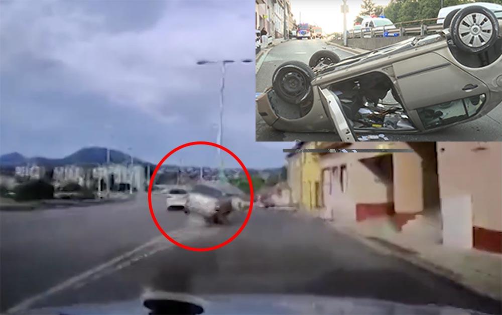 Videón, ahogy Egerben az elválasztó betonnak csapódik, majd fejtetőre borul egy autó