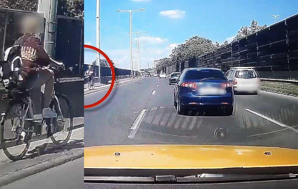 VIDEÓ: Az M3 kivezetőn, a belső sáv útpadkáján kerékpározott tegnap délután egy nő