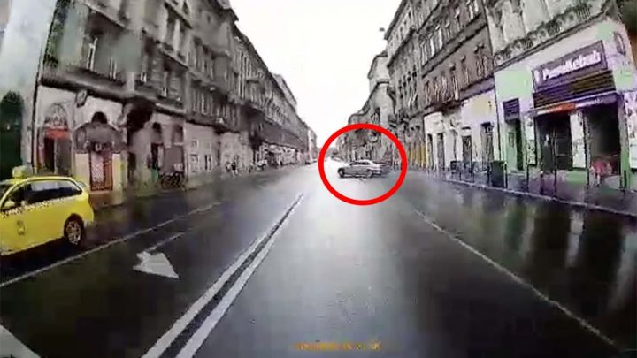 VIDEÓ: Nem sikerült a BMW-t uralni a nedves aszfalton a Thököly úton