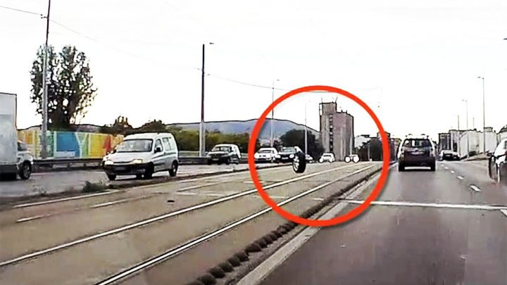 VIDEÓ: Lerepült az Alfa kereke és az autók közé csapódott ma a Kacsóh Pongrác felüljárón