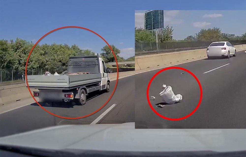 VIDEÓ: Építőanyagok repültek a száguldó autók közé egy platóról az M3-ason tegnap