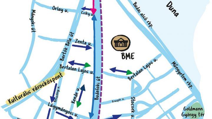 Forgalomcsillapítás és 30 km/h-s korlátozás, valamint parkolóhelyek megszüntetése Újbudán