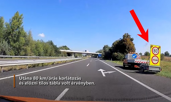 VIDEÓ: Semmibe vette egy terepjárós a munkaterületre figyelmeztető korlátozásokat az M7-es autópályán