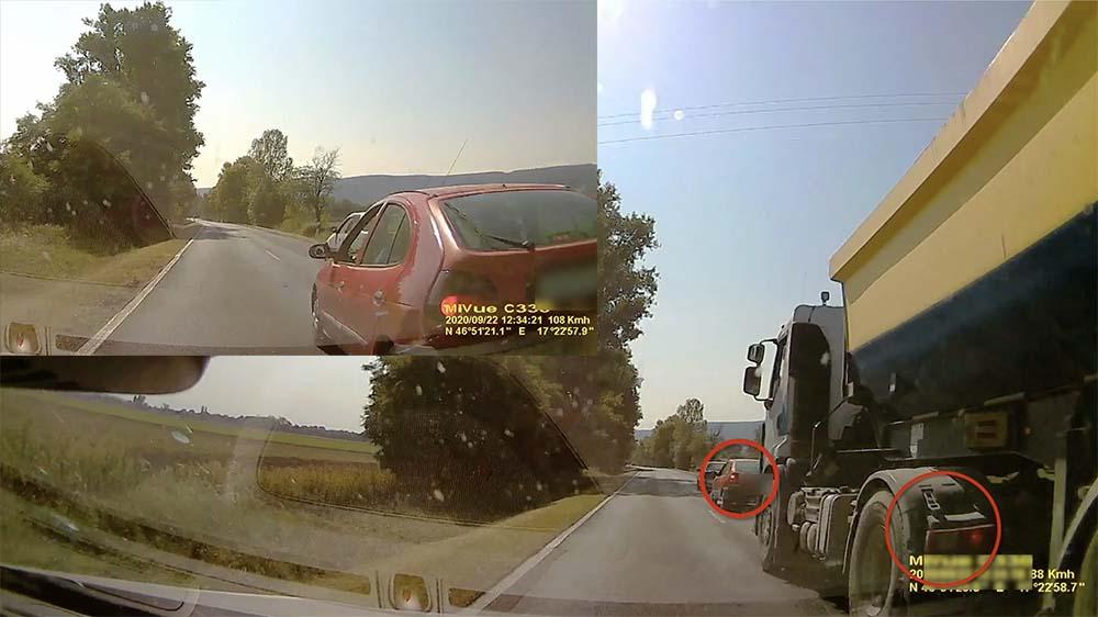 VIDEÓ: A teherautót előzte, a Renault kijött elé. Hatalmas balesetet úsztak meg a felek