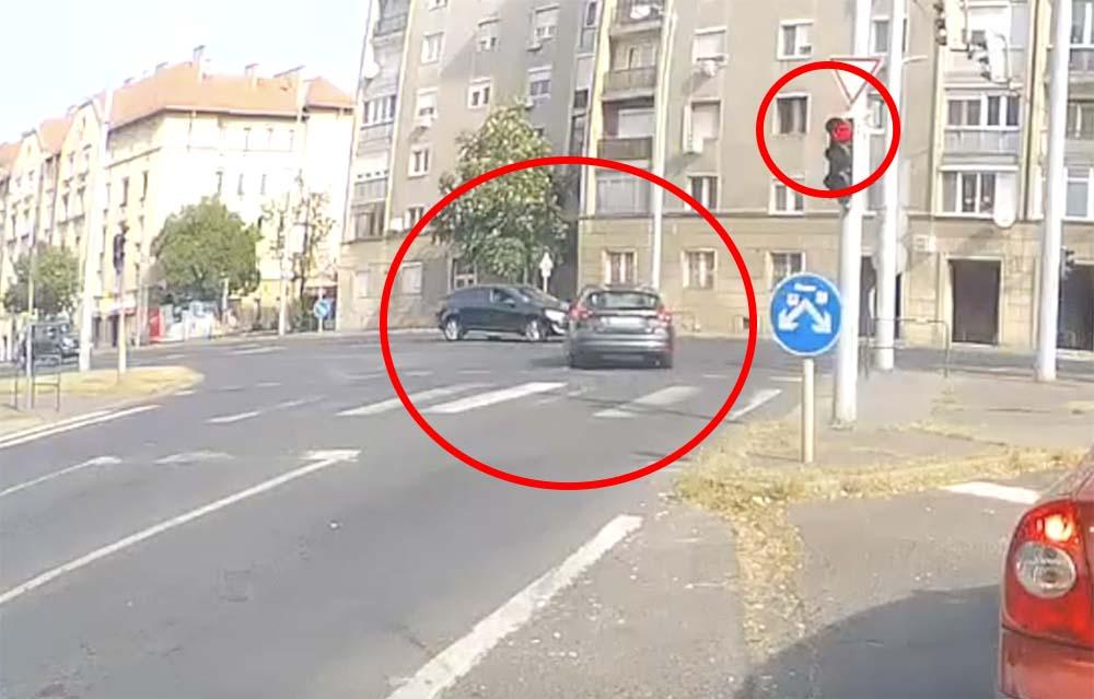 VIDEÓ: Behajtott az autók közé a piros jelzésen át a Ford a Pöttyös utcáról az Üllőire