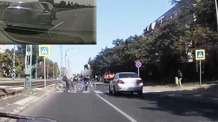 2 VIDEÓ: A szabályos(!) kerékpárosoktól megrémült Toyotás és a büntetőfékes acsarkodás mesterfoka az M3-ason