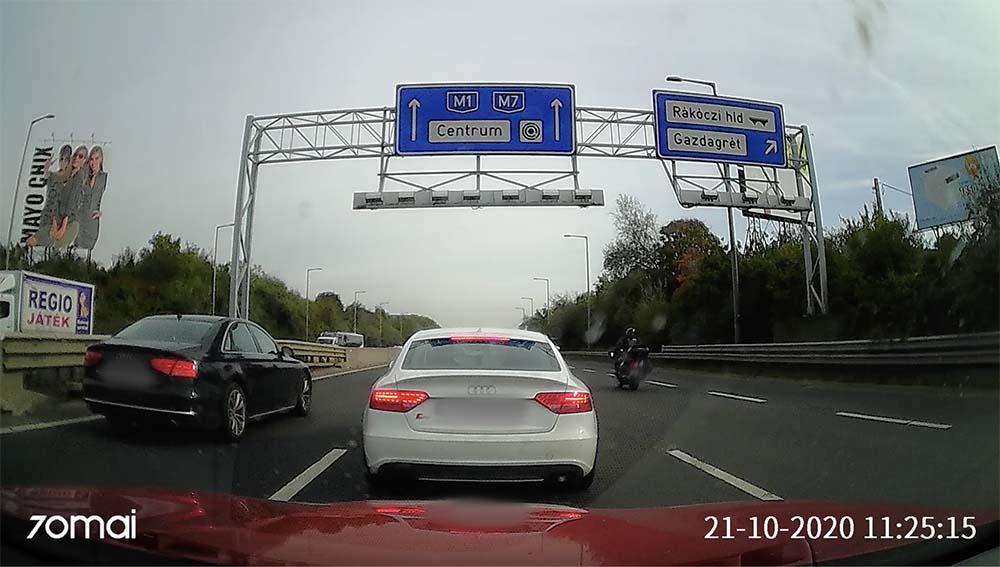 VIDEÓ: Fogta az Audis és büntiből 0-ra megállt a középső sávban az M1-M7 bevezetőn