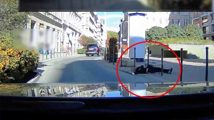 VIDEÓ: Kilógott a feje az úttestre, úgy feküdt a földön a Garay térnél. Senkit nem érdekelt sokáig