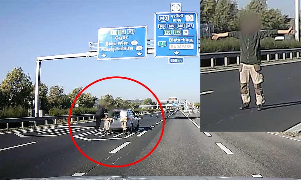 VIDEÓ: Az M1-en toltak egy Golfot ma délelőtt. Azt nem tudjuk, hogy Győrig, vagy Bécsig