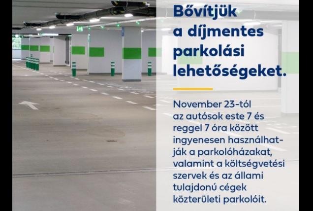 Az új rendelet szerint hétfőtől díjmentesen lehet parkolni este 7-től reggel 7-ig a parkolóházakban is