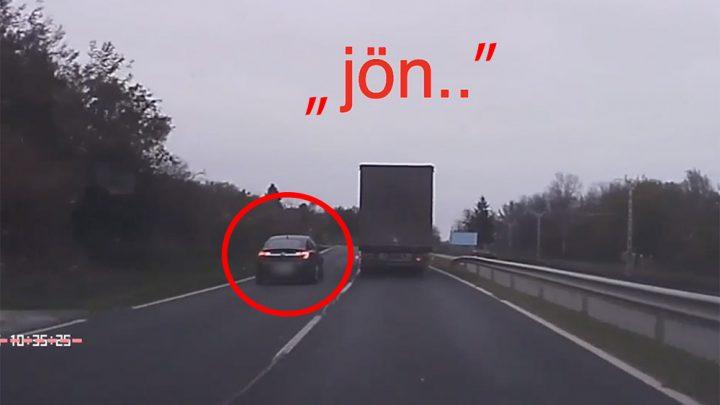 VIDEÓ: A kamerás autóban látszott a szemből jövő. Döbbenetes előzés, centiken múló tragédia