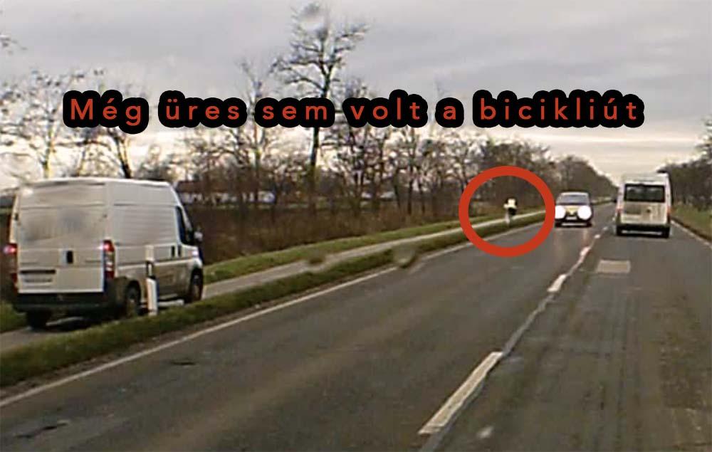 VIDEÓ: Legalább 80-nal száguldott a bicikliúton egy futárcég autója Szarvas felé