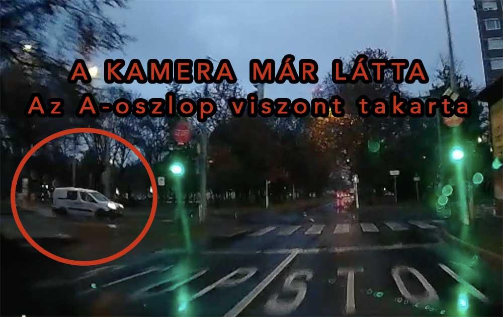 VIDEÓ: Az A-oszlop miatt a sofőr nem látta a piroson átszáguldó furgont, ezért nem fékezett hamarabb