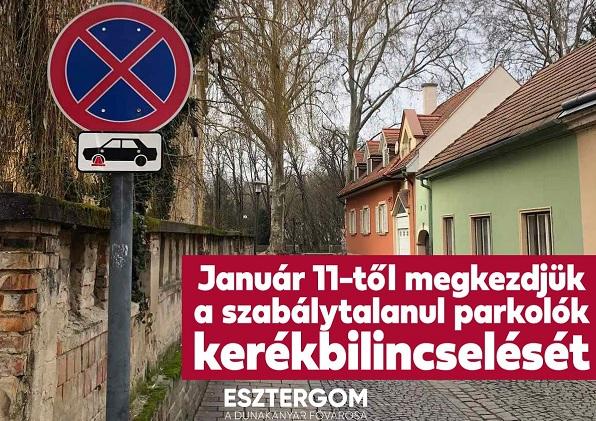 Lejárt a türelmi idő! Mától kerékbilincs jár a tiltott helyen parkoló autókra Esztergomban