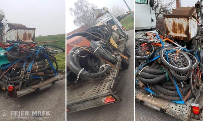 FOTÓK: Több százezres bírságot kapott a két sofőr, aki veszélyes szerelvénnyel közlekedett az M7-esen