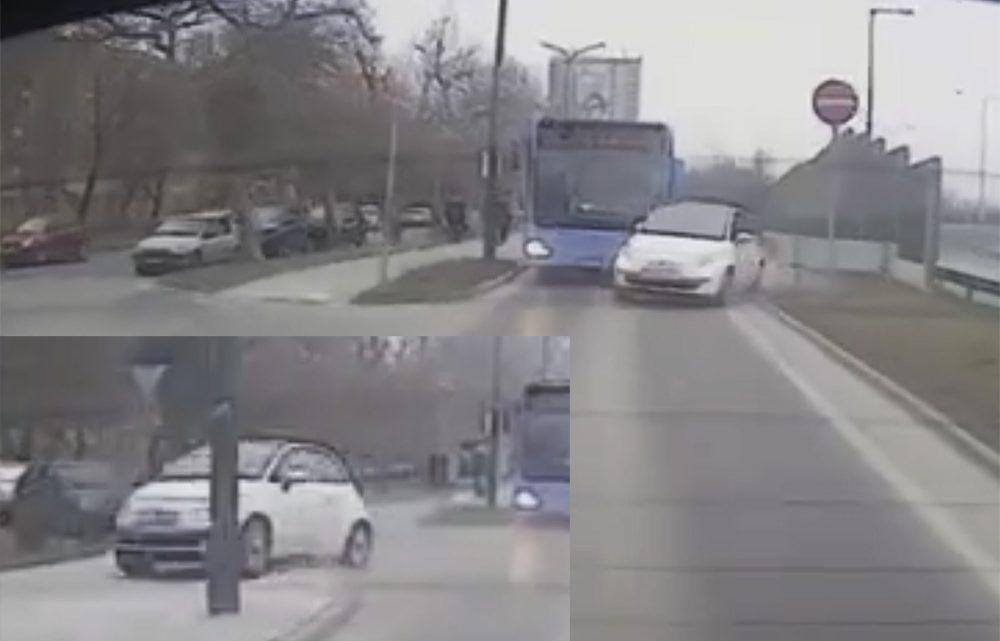 VIDEÓ: A busz elé vágódott az autós, majd felrepült a járdára. Mindezt fedélzeti kamera rögzítette
