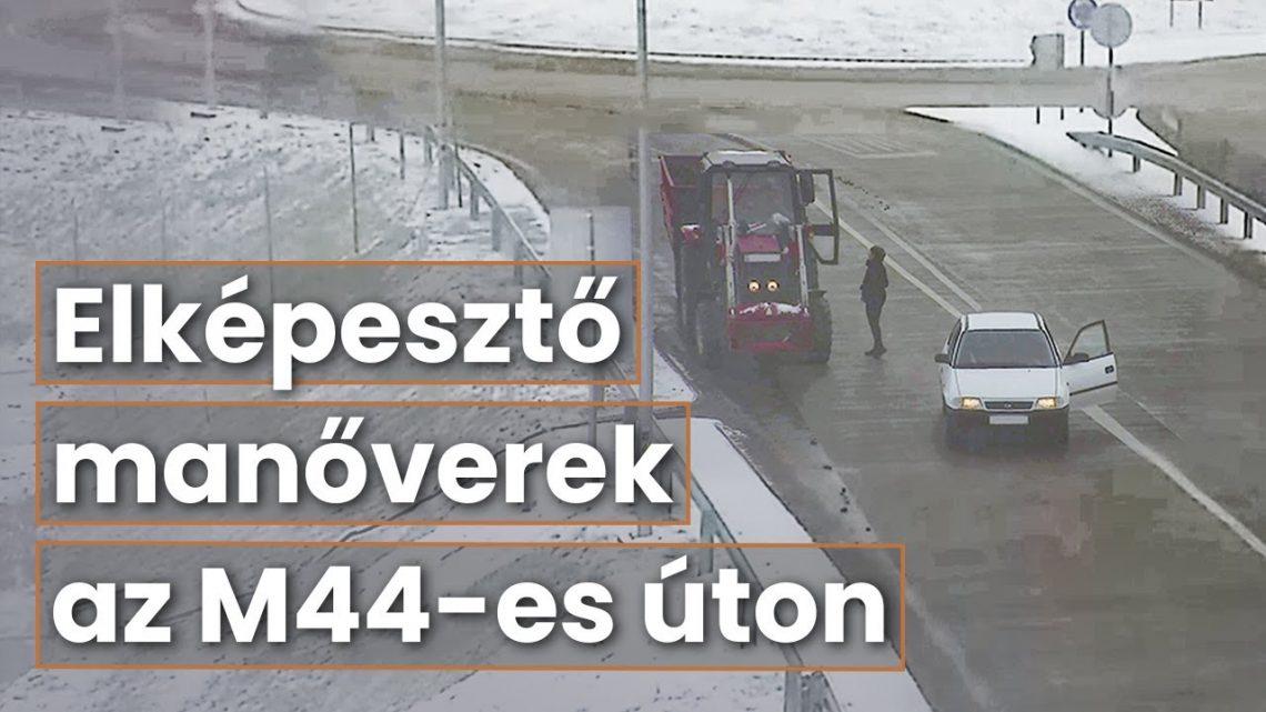 Videót adott ki a Magyar Közút – Életveszélyes manővereket hajtanak végre az autósok az M44-es új turbó körforgalmánál