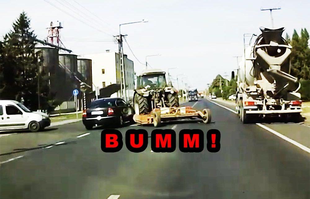 Videón, ahogy traktornak hajt a Volkswagen sofőrje
