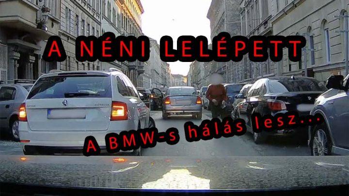 VIDEÓ: Meghúzta a BMW-t, összeszedte saját tükrének darabjait, majd lelépett. Felvette a kamera