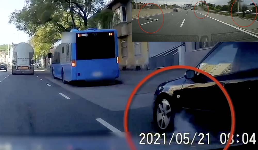 VIDEÓ: Belerohant az álló buszba a Vörösvári úton. A kerék állóra blokkolt