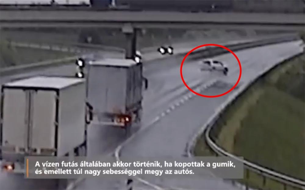 Videón, ahogy szalagkorlátnak csapódik – Aquaplaning az M3-ason.