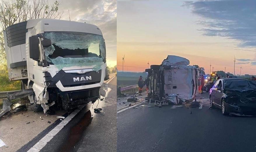FOTÓK: Balesetnél helyszínelő rendőrök közé csapódott egy kamionos reggel az M1-esen