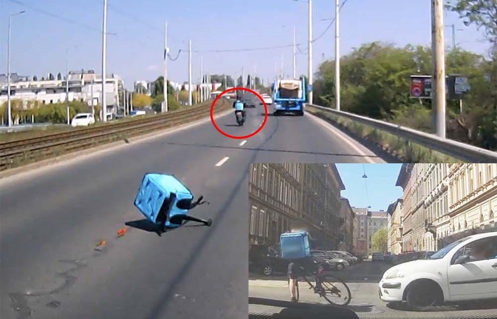 VIDEÓ: Egy szerencsétlen és egy szerencsés budapesti futár
