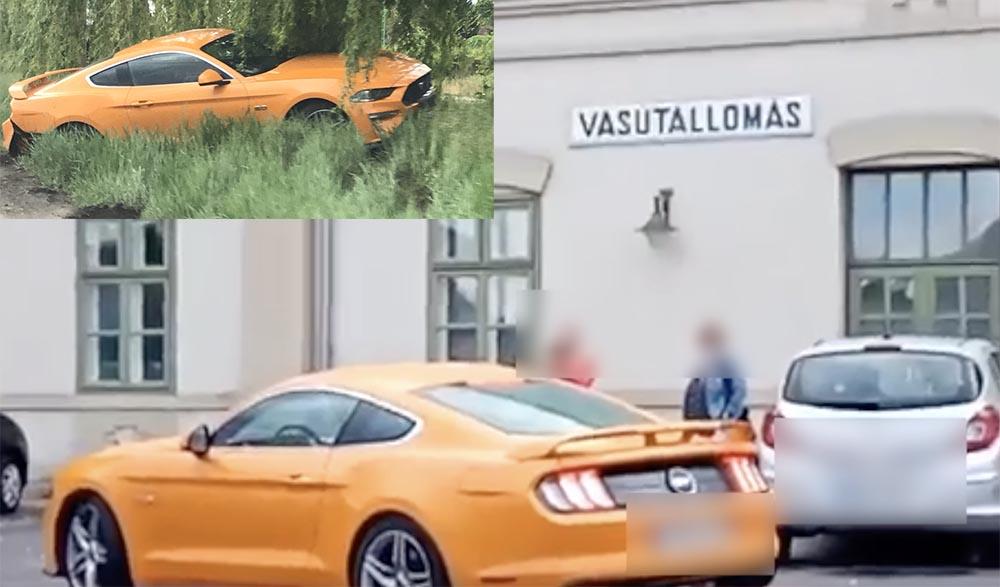 Videón, ahogy árokba csapódik a Mustanggal vagánykodó sofőr Újszászon