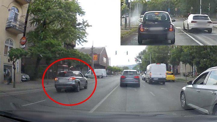 """VIDEÓK: Valaki komolyat """"japánkodott"""" egy Suzukival a 13-ban / Vágány helyett vagánynak nézte az utcát az audis"""