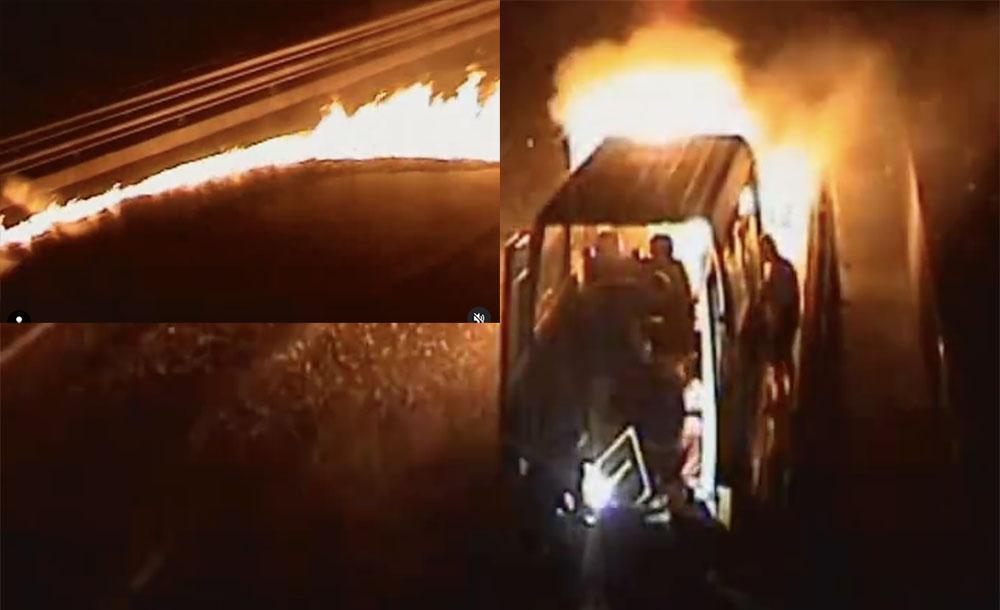 VIDEÓ: Nem előtte, nem utána… Pont a Kőröshegyi Völgyhídon gyulladt ki a kisbusz